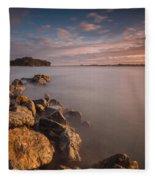 Rock Peninsula In Humboldt Bay Fleece Blanket