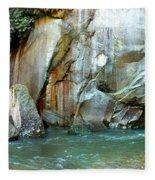 Rock Wall And River Fleece Blanket