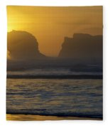 Rockaway Beach Oregon Turning The Sky To Gold Fleece Blanket