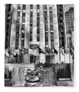 Rockefeller Center Black And White Fleece Blanket