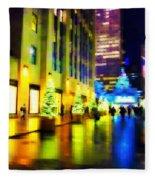 Rockefeller Center Christmas Trees - Holiday And Christmas Card Fleece Blanket