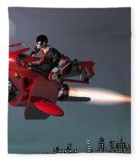 Rocket Scooter Fleece Blanket