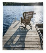 Rocking Chair On Dock Fleece Blanket