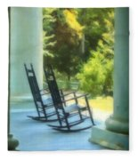 Rocking Chairs And Columns Fleece Blanket