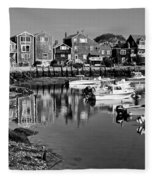 Rockport Harbor - Bw Fleece Blanket