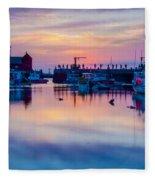 Rockport Harbor Sunrise Over Motif #1 Fleece Blanket