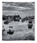 Rockport Harbor View - Bw Fleece Blanket