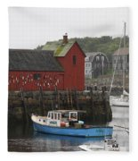 Rockport Inner Harbor With Lobster Fleet And Motif No.1 Fleece Blanket