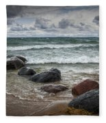 Rocks And Waves At Wilderness Park In Sturgeon Bay Fleece Blanket
