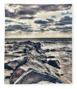 Rocks At Cape May Fleece Blanket