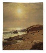 Rocks At Narragansett Fleece Blanket
