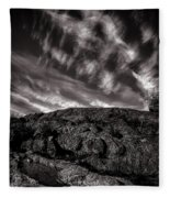 Rocks Clouds Water Fleece Blanket