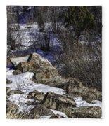 Rocks In Snow Fleece Blanket