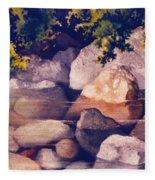 Rocks In Stream Fleece Blanket