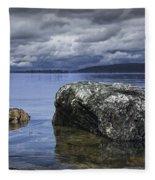 Rocks In The Water On A Lake In Acadia National Park Fleece Blanket