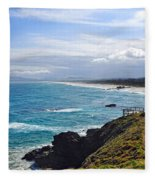 Rocks Ocean Surf And Sun Fleece Blanket