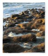 Rocky Beach At Sunrise Fleece Blanket