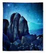 Rocky Cliff In Starlight Fleece Blanket