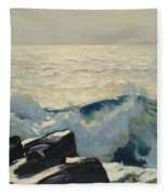 Rocky Coast And Sea Fleece Blanket