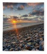 Rocky Coast Sunset Fleece Blanket