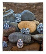 Rocky Faces In The Sand Fleece Blanket