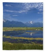 Rocky Mountain Lake Fleece Blanket