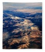 Rocky Mountain Peaks From Above Fleece Blanket