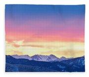 Rocky Mountain Sunset Clouds Burning Layers  Panorama Fleece Blanket