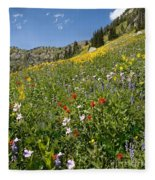 Rocky Mountain Wildflower Landscape Fleece Blanket