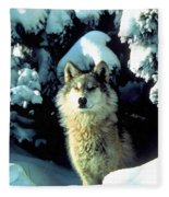 Rocky Mountain Wolf Fleece Blanket