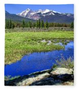 Rocky Mountains River Fleece Blanket