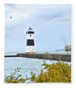 Rocky River Pier Fleece Blanket