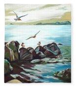 Rocky Seashore And Seagulls Fleece Blanket