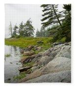 Rocky Shore By The Narrows To Mount Desert Island Fleece Blanket