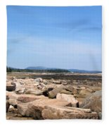 Rocky Shore To Rocky Mountain Fleece Blanket