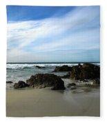 Rocky Shoreline At Spanish Bay Fleece Blanket