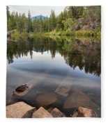Rocky Shores At Swim Lake Fleece Blanket