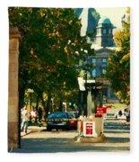 Roddick Gates Painting Mcgill University Art Students Stroll The Grand Montreal Campus C Spandau Fleece Blanket