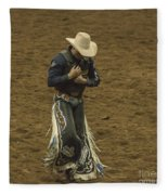 Rodeo Cowboy Dusting Off Fleece Blanket
