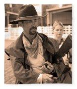 Rodeo Gunslinger With Saloon Girls Sepia Fleece Blanket