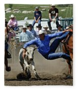 Rodeo Steer Wrestling Fleece Blanket
