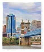 Roebling Bridge And Downtown Cincinnati 9850 Fleece Blanket