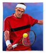 Roger Federer The Swiss Maestro Fleece Blanket