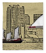 Roger's Centre And Tall Ship Fleece Blanket