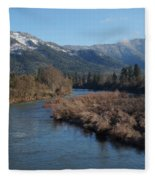 Rogue River And Mt Baldy In Winter Fleece Blanket