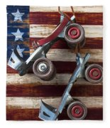 Rollar Skates With Wooden Flag Fleece Blanket