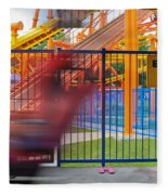 Rollercoasters At Amusement Park Fleece Blanket