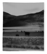 Rolling Hills And Cattle In Black And White Fleece Blanket