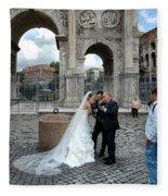 Roman Colosseum Bride And Groom Fleece Blanket