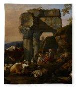 Roman Landscape With Cattle And Shepherds Fleece Blanket
